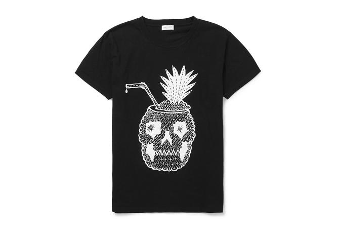 Saint Laurent Pineapple Skull Cocktail T-Shirt
