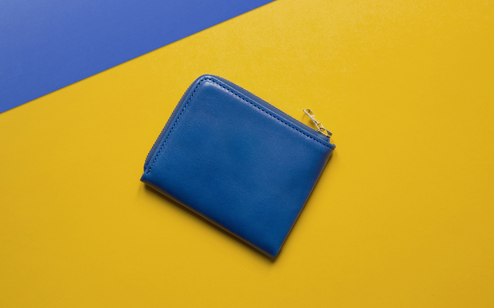 L.W.A. Studio Leather Slim Zipped Wallet Blue