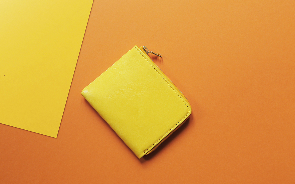 L.W.A. Studio Leather Slim Zipped Wallet Yellow