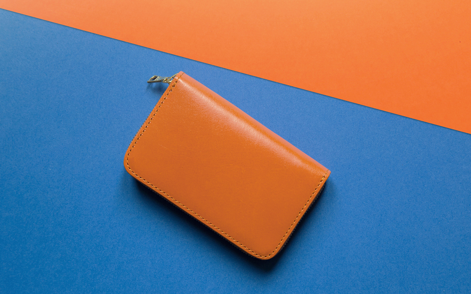 L.W.A. Studio Leather Zipped Wallet Orange