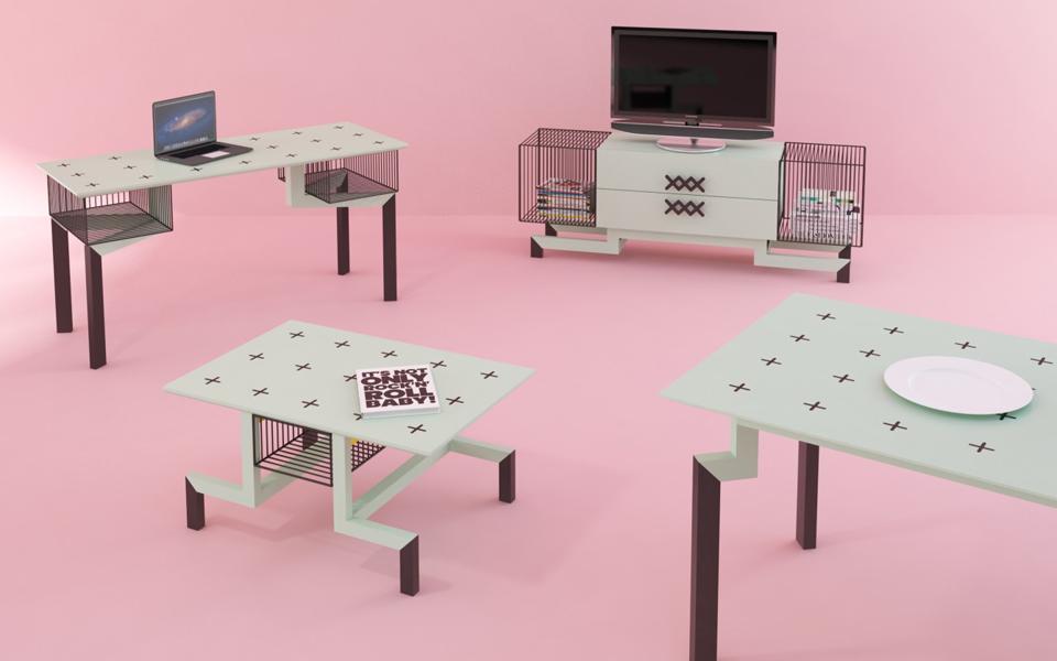 Nisha se une a la moda de los muebles geométricos