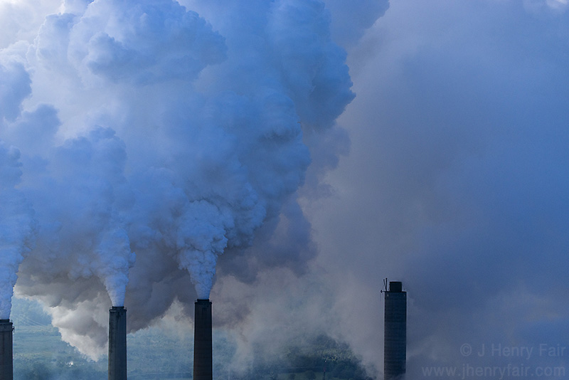 Smoke and steam from coal-fired power plant