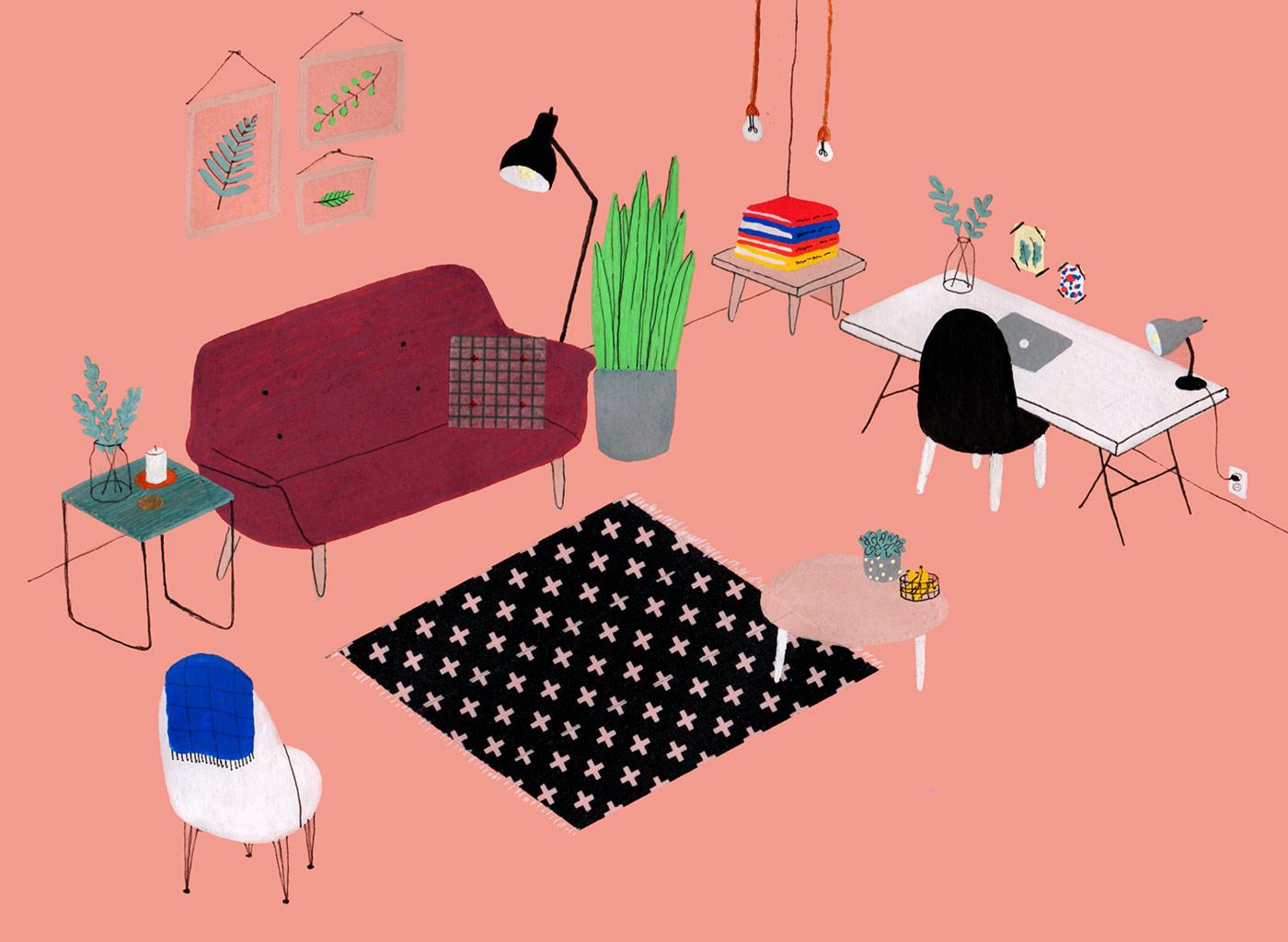 Lianne Nixon dibuja los interiores en los que querríamos quedarnos a vivir